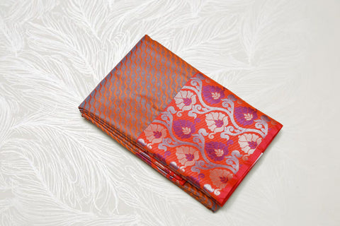 30150 Semi Silk Polyester Mix big white Zari and thread border emboss Orange with pink and orange mix border and silver pallu