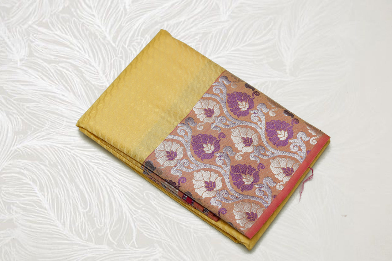 30151 Semi Silk Polyester Mix big white Zari and thread border emboss Lemon Yellow with red border and silver pallu