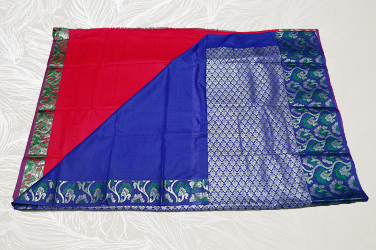 30153 Semi Silk Polyester Mix big white Zari and thread border emboss Red with blue border and silver pallu