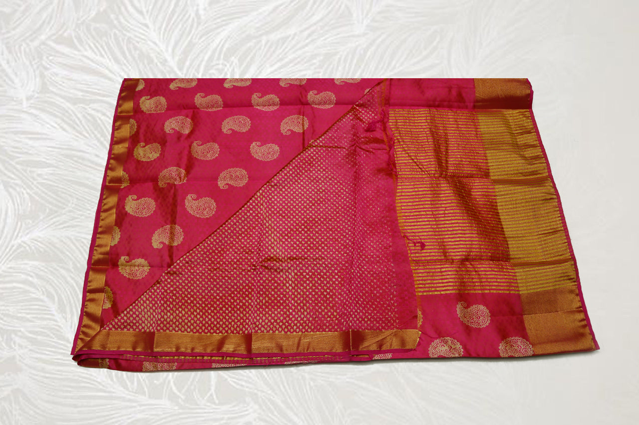 33273 Semi Raw Silk Bavans tissue border Laila print red with self light red Pallu