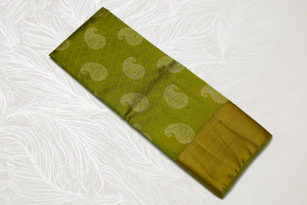 33279  Semi Raw Silk Bavans tissue border Laila print Chutney green with self light chutney green Pallu