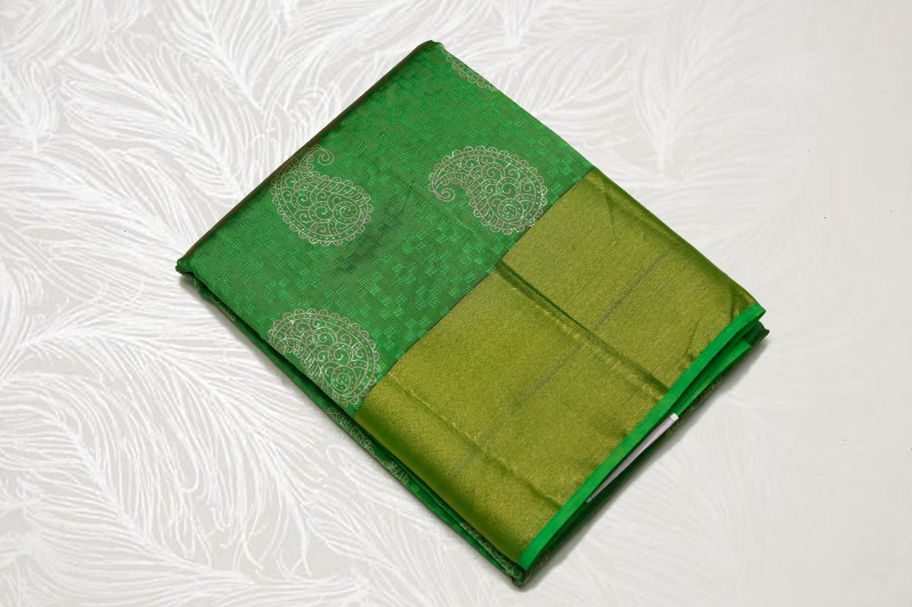 33275  Semi Raw Silk Bavans tissue border Laila print Green with self light Green Pallu
