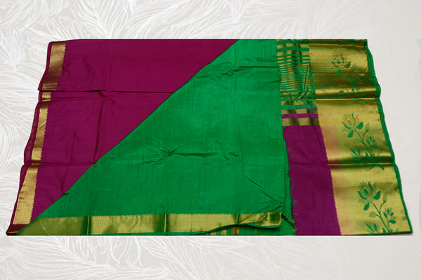 33122  Semi Dupion Silk Saree long border contrast Pallu Magenta with Green border