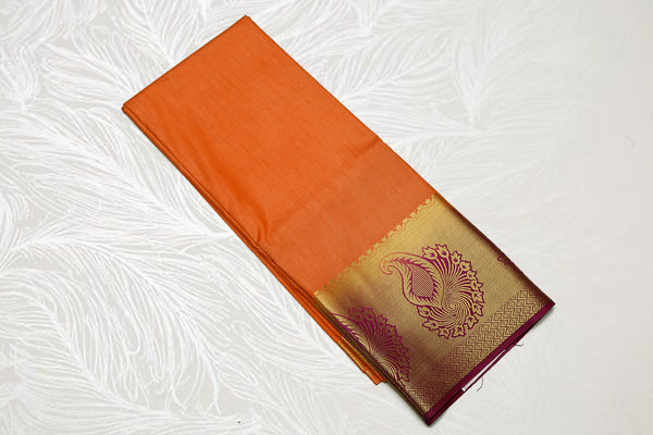 33129 Semi Dupion Silk Saree long border contrast Pallu Mustard with Maroon border