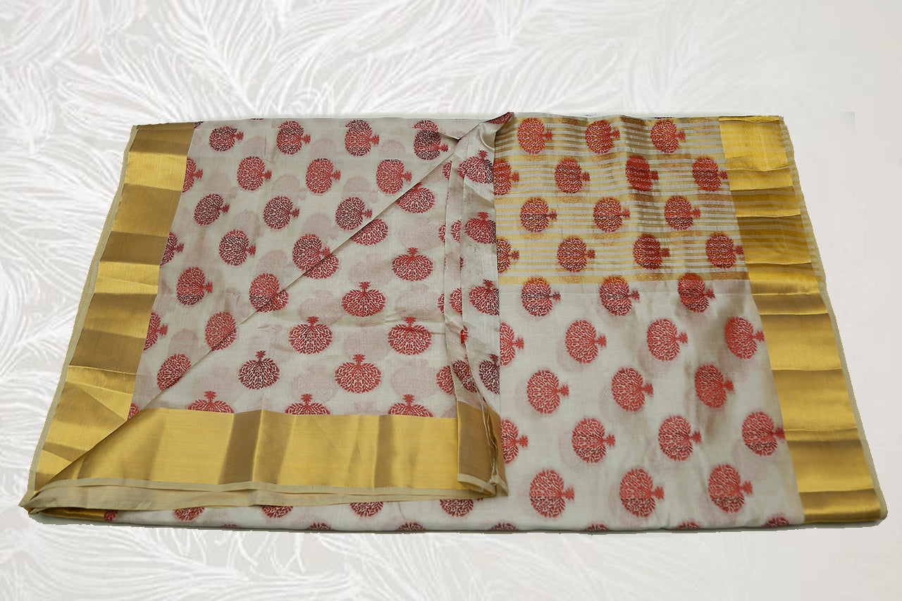 33321  Semi Raw Silk Saree broad border flower print self Pallu Off White
