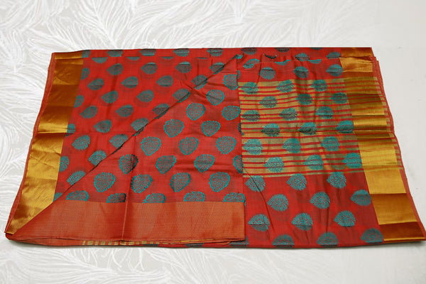 33311  Semi Raw Silk Saree broad border flower print self Pallu Orange-Rust