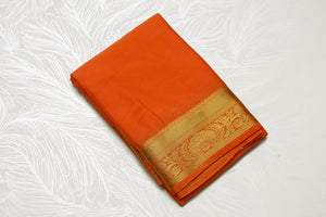 33285  Synthetic Crepe Getti Border Self Pallu Orange