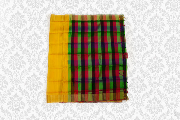 Uppada Silk Saree Yellow with Self Border Checked Blouse