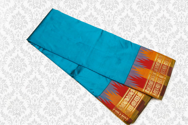 Pure Silk Powerloom Saree Multi color Temple Rich Pallu Blue with Red