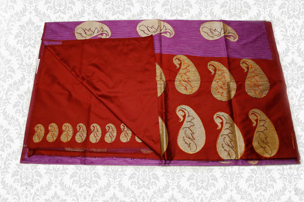 Semi Raw Silk Saree with Khicha Work, Contrast Pallu, Lavender with Maroon