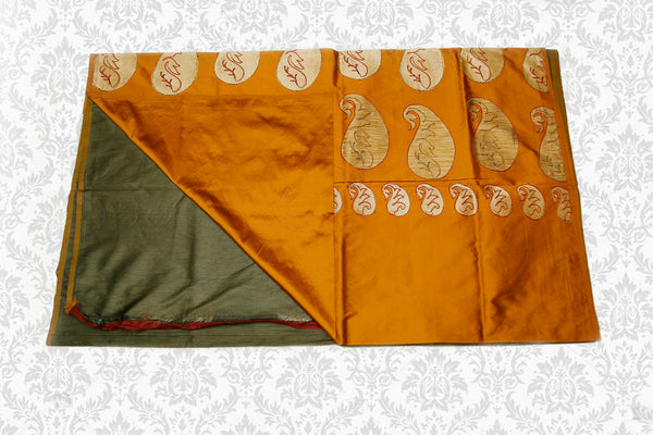 Semi Raw Silk Saree with Khicha Work, Contrast Pallu, Military Green with Mustard-Gold
