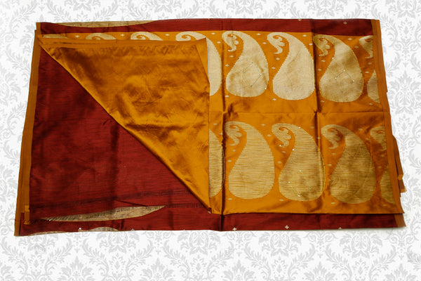 Semi Raw Silk Saree with Khicha Work, Contrast Pallu, Maroon with Mustard