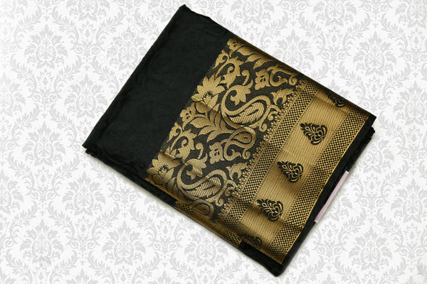 Semi Dupion Emboss Saree Self Black