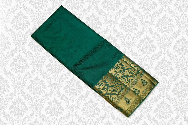 Semi Dupion Emboss Saree Self Green