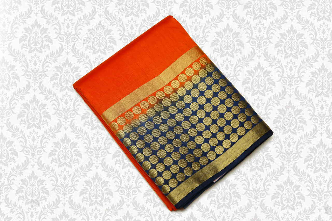 Semi Dupion Saree Contrast Pallu Orange with Blue