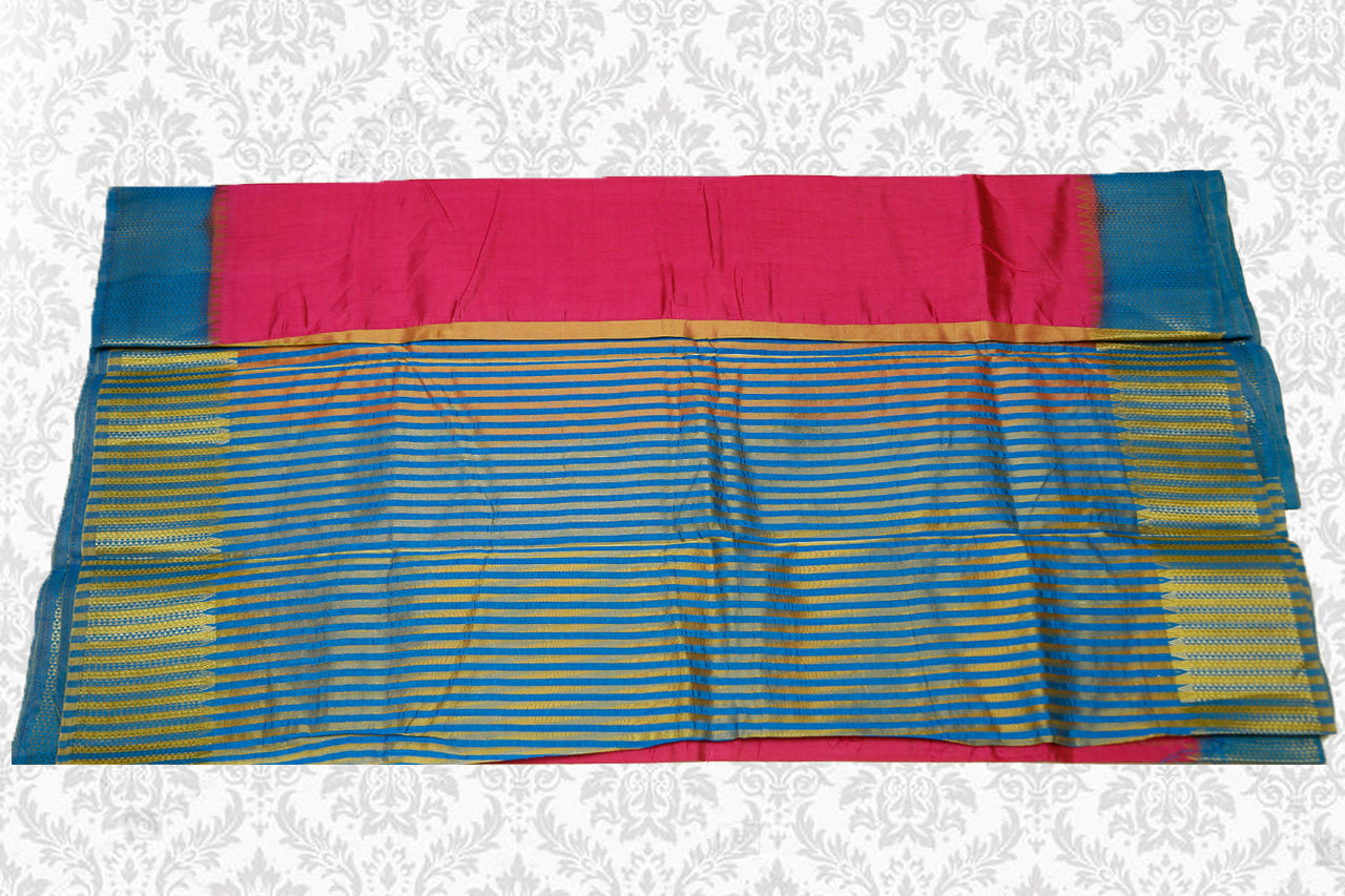 Semi Tussar Silk Saree with Zari Contrast border Pink with Blue