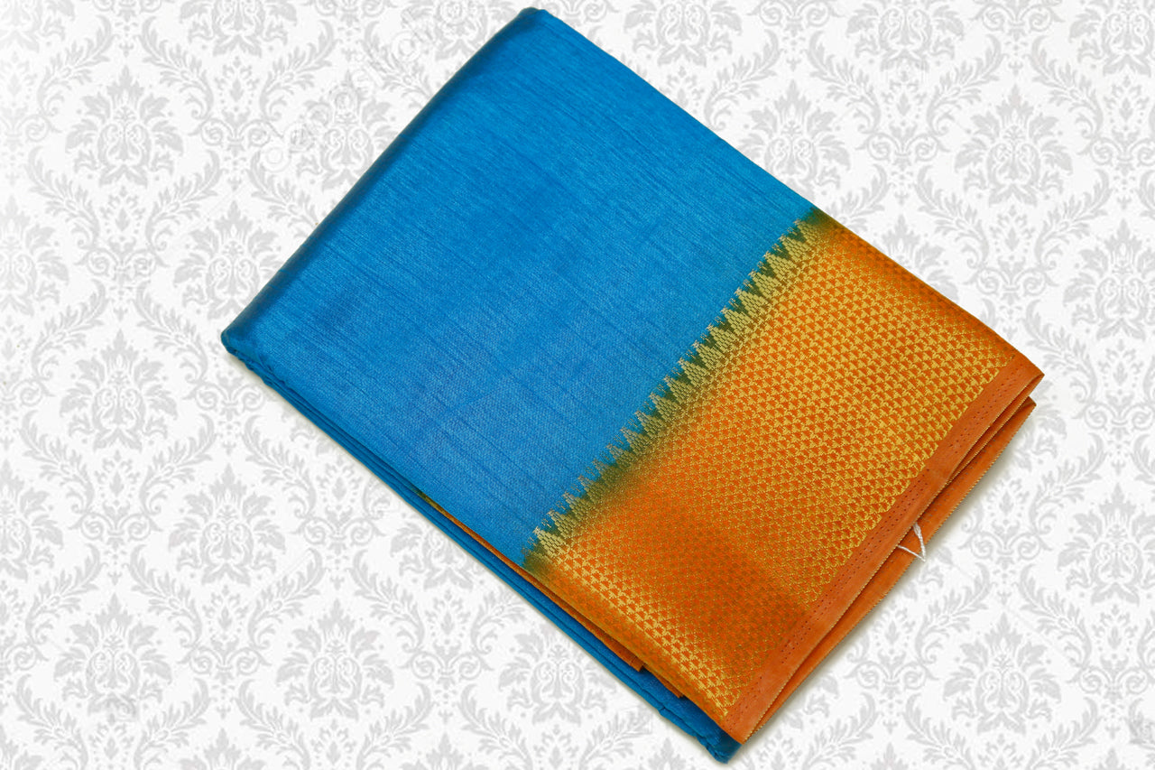 Semi Tussar Silk Saree with Zari Contrast border Blue with Mustard