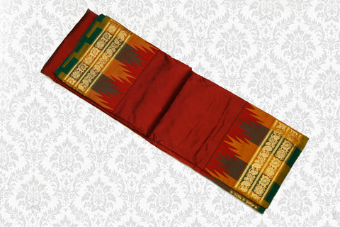 Pure Silk Powerloom Saree Multi color Temple Rich Pallu Maroon with Mustard