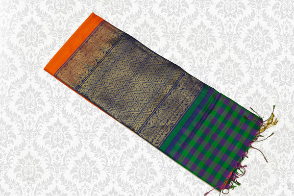 Uppada Silk Saree Orange with Green Border Checked Blouse