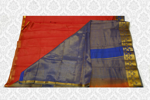 33045 Semi Raw Silk Rust with Guava border and Blue Pallu