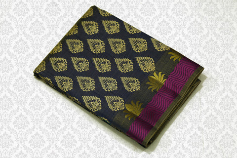 33086 Semi Tussar Silk Saree All Over Print with Rich Pallu