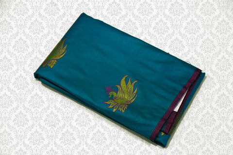 30081  Polyester Mix Saree  Copper Sulphate Blue with Pink Pallu