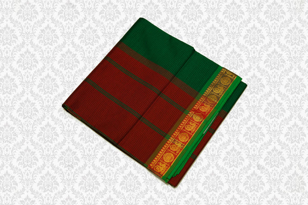 6062 Polycotton Saree Dark Green with Maroon border
