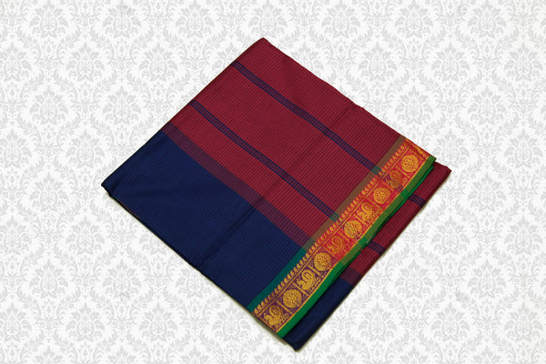 6054 Polycotton Saree  Rust with Blue Border