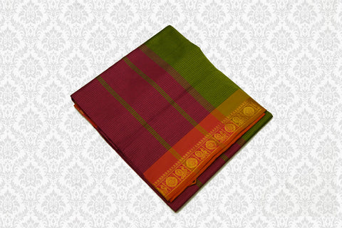 6055  Polycotton Saree  Olive Green with Maroon Pallu