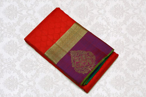 36029 Tomato Red with Purple border and Green pallu