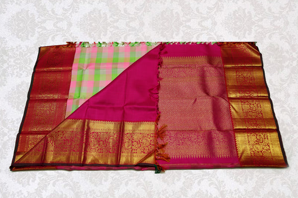 36167 Multicolor checked body with maroon border and pallu
