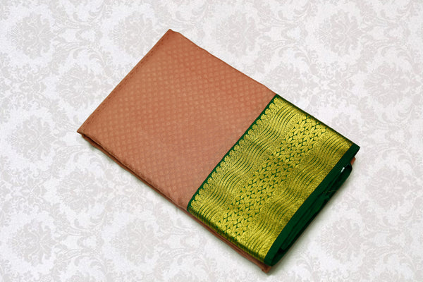 36156 Peach with Green border and pallu