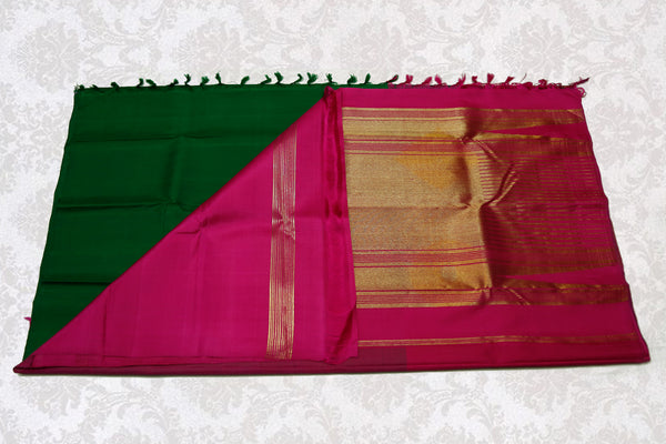 36189 Bottle Green with Rose Pink Pallu