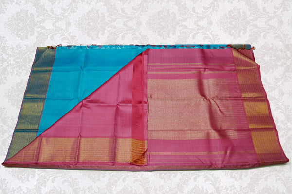 36229 Sky Blue with Pink Pallu