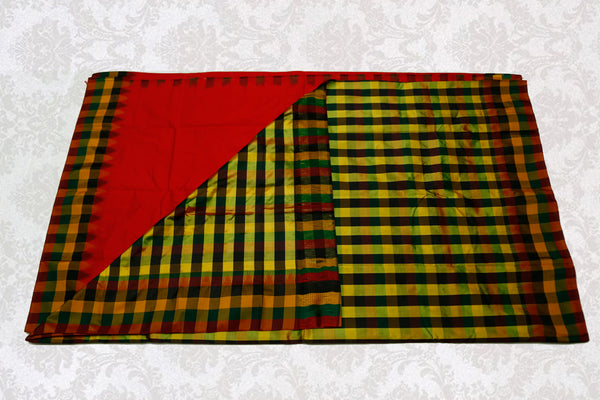 37702 Red with Multi checks border and pallu