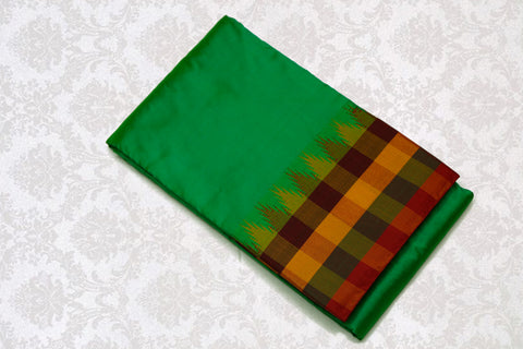 37701 Sapphire Green with Multi checks border and pallu
