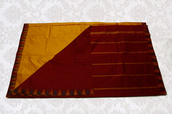 37725 Mustard with Maroon temple Border