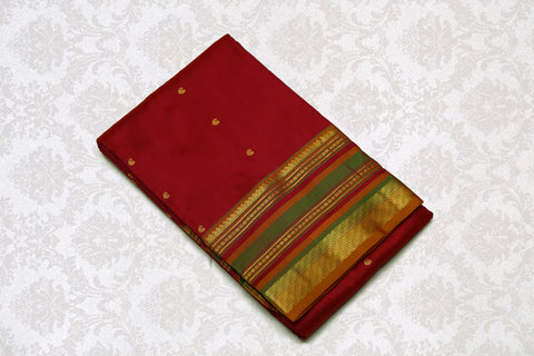 37735 Maroon with Mustard Pallu