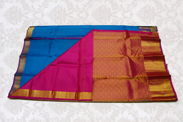 36118 Ananda Blue with Violet pallu