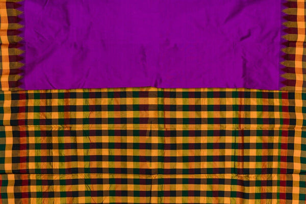 37700 Violet with Multicolour Checks in Mustard, Green and Red
