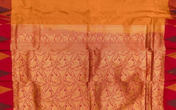 37709 Golden Yellow with Mustard and Brown Temple Border