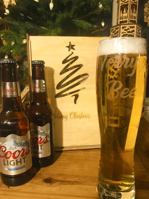 PERSONALISED BEER GLASS & DOUBLE SIZED GIFT BOX