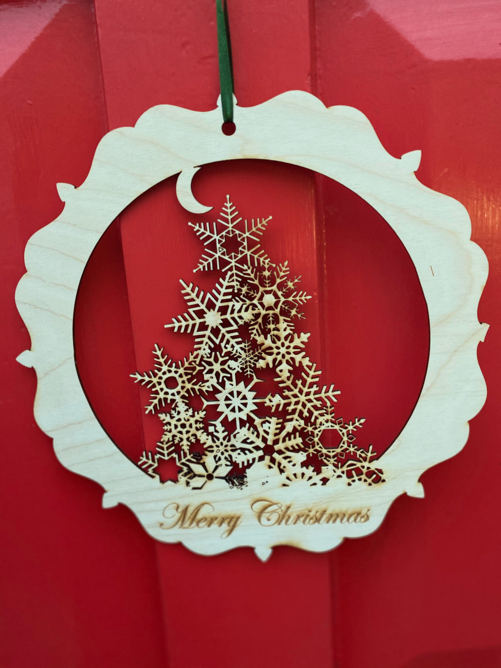 Intricate snowflake Tree Door Wreath