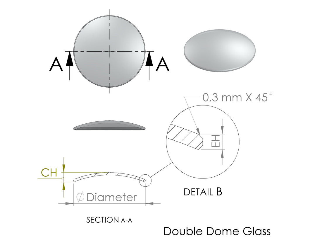 Double Dome Round Sapphire Glass with Polished Edge (2 Pcs), 1.0 mm Thick, Center Height 3.4 mm