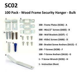 SC02 - 100 Pack - Wood Frame Security Hangers - Bulk
