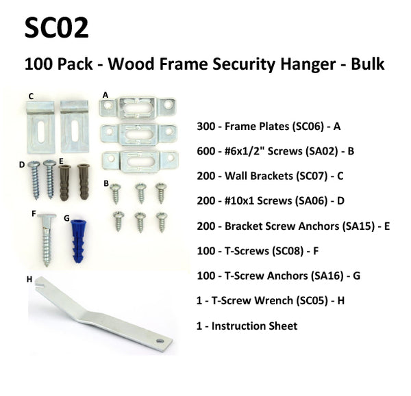 Wood Frame Security Hangers
