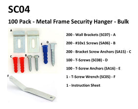 SC04 - 100 Pack - Metal Frame Security Hangers - Bulk