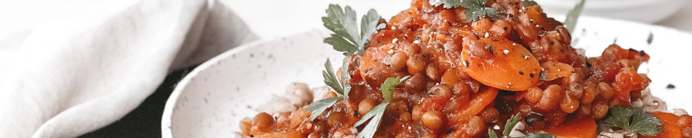 An image of Summer Lentil and Peach Stew bowl