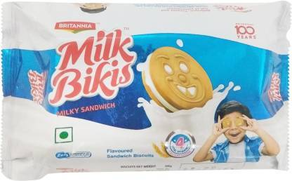 BRITANNIA MILK BIKIS CREAM BISCUITS  100G
