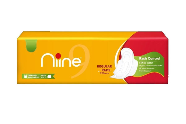 NINE DRY COMFORT REGULAR SANITARY NAPKINS(6PADS)